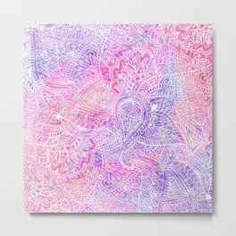 Pink Purple Paisley Love Metal Print