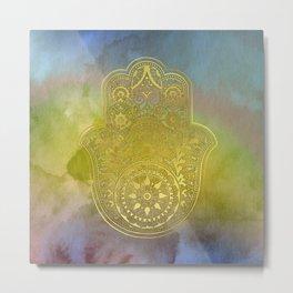 Colorful Watercolor And Gold Hamsa Hand Metal Print