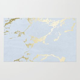 Kintsugi Ceramic Gold on Sky Blue Rug
