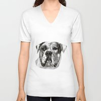 bulldog V-neck T-shirts featuring Bulldog by Danguole Serstinskaja