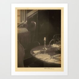 Doris Ulmann  (1882–1934), Table with place setting, candlestick, and plant, with window in backgrou Art Print