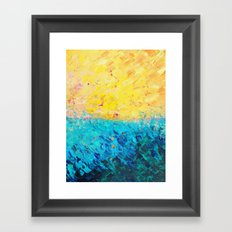 THE DIVIDE - Stunning Bold Colors, Ocean Waves Sun, Modern Beach Chic Theme Abstract Painting Framed Art Print