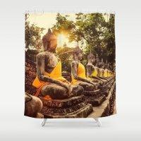 nirvana Shower Curtains featuring Buddhist Nirvana by Maioriz Home