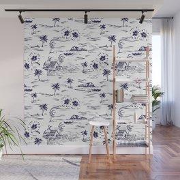 Tropical Island Vintage Hawaii Summer Pattern in Navy Blue Wall Mural