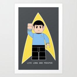 Live Long and Prosper  (Lego Spock - Star Trek) Art Print
