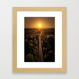 The Black Road - Epic sunset captured by drone Framed Art Print