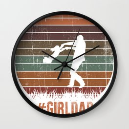 #GirlDad Father Of Girls Daughter Vintage Family Girl Dad Tee Gifts Wall Clock