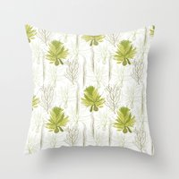 green pattern Throw Pillows featuring Green pattern  by LOLIA-LOVA
