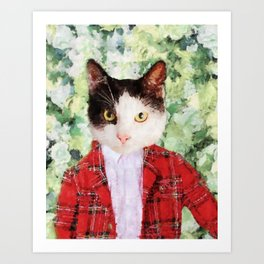 Black and white cat with red suit jacket Art Print