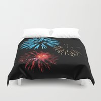 patriotic Duvet Covers featuring Patriotic Fireworks by Tracy Ginther