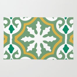 Moroccan Mosaic Tile Pattern Green Yellow Rug