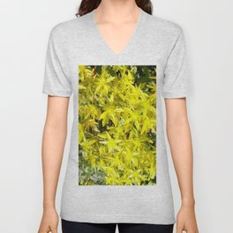 BLOOMING YELLOW SEDUM SPRING FLOWERS GARDEN ART Unisex V-Neck