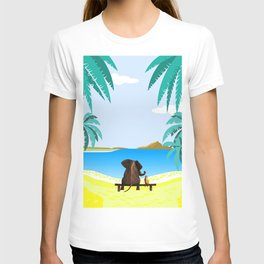 relaxing elephants by the beach T-shirt