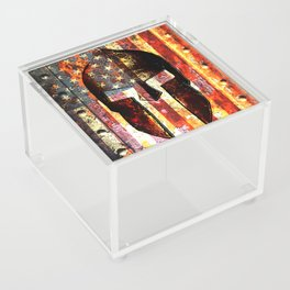 American Flag And Spartan Helmet On Rusted Metal Door - Molon Labe Acrylic Box