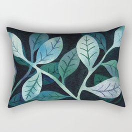 Watercolor leaves in shades of blue and teal Rectangular Pillow