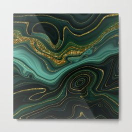 Abstract Gold Glitter Malachite Marble Landscapes Metal Print