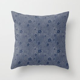 Blue Grunge Flowers and Hearts Pattern Gift Ideas Throw Pillow