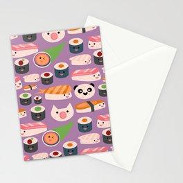 Kawaii sushi purple Stationery Cards