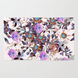Beautiful watercolor flowers. Blue morning filed Rug