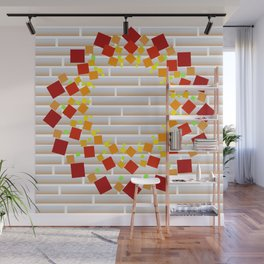 Square wreath on the wall Wall Mural