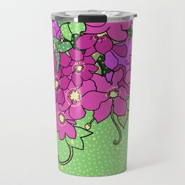Swirling vines of Clematis in shades of pink and green Travel Mug