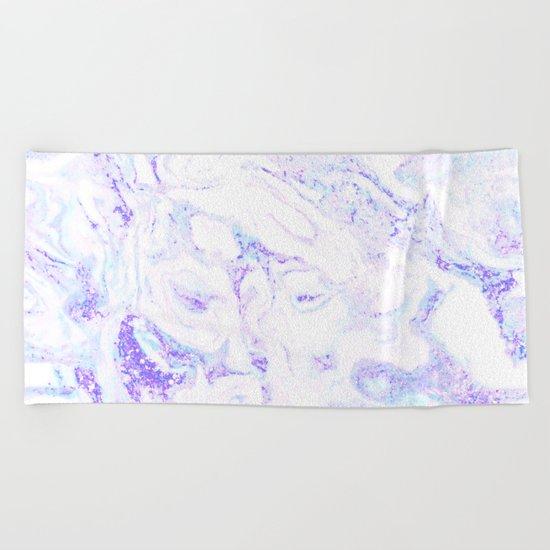 Pastel Marble Purple Blue Glitter Beach Towel