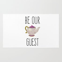 Be our Guest Hand painted teapot hand print Rug