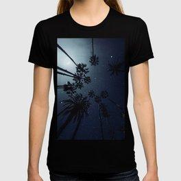 Palm Trees, Night Sky, Stars, Moon T-shirt