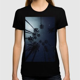 Palm Trees, Night Sky, Stars, Moon T-shirt