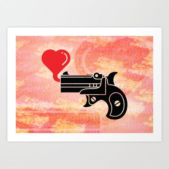 Pistol Blowing Bubbles of Love Art Print