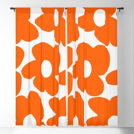 Orange Retro Flowers White Background #decor #society6 #buyart Blackout Curtain