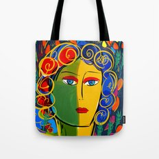 The Green Yellow Pop Girl Portrait Tote Bag