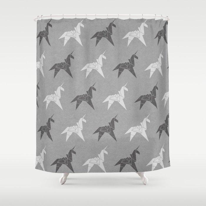 Origami Unicorn Grey Shower Curtain