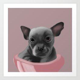 Grey chihuahua in a pink bowl Art Print