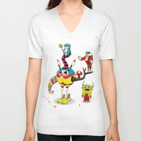 candy V-neck T-shirts featuring Candy by Teodoru Badiu