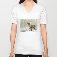 reindeer V-neck T-shirts featuring Reindeer by Meredith Mackworth-Praed