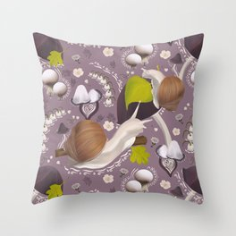 Decorative forest plants and snails Throw Pillow