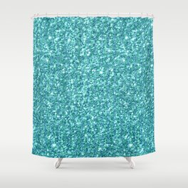 Turquoise-blue glitter texture print Shower Curtain