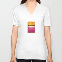 rothko V-neck T-shirts featuring Mark Rothko - White Center by bosphorus