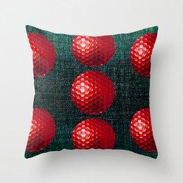 SHINY RED GOLF BALLS Throw Pillow