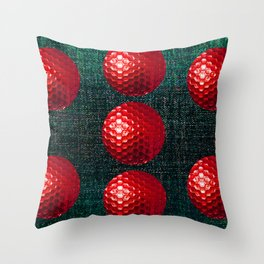 SHINY RED GOLF BALLS Throw Pillow