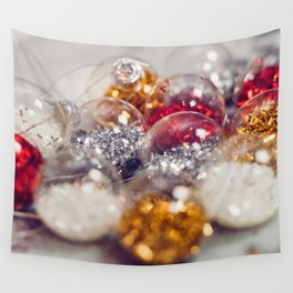 Glitter Christmas Ornaments (Color) Wall Tapestry