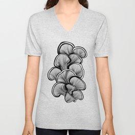Mushrooms in black and white Unisex V-Neck