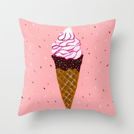 Vanilla and strawberry sauce ice cream Throw Pillow