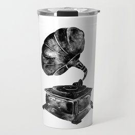 GRAMOPHONE, black and white Travel Mug