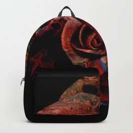 Fluid Nature - Marbled Red Rose Backpack
