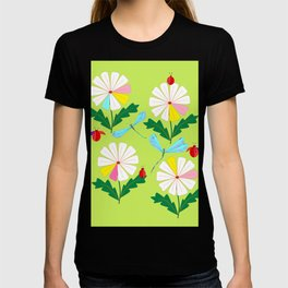 Green Spring Damselflies, Lady Bugs and Daisies T-shirt