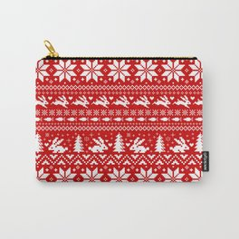 Bunnies Holiday Patterm Carry-All Pouch