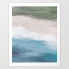 Ocean Aqua Blue Green Grass Beige Sand Abstract Tropical Hawaii Aerial Wall Art, Painting Art Print