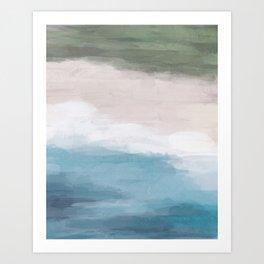 Ocean Aqua Blue Green Grass Beige Sand Abstract Tropical Hawaii Aerial Wall Art, Painting Art Print